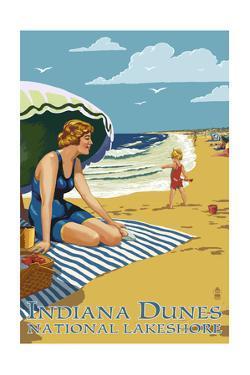 Indiana Dunes National Seashore, Indiana - Woman on Beach by Lantern Press