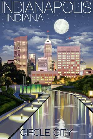 Indianapolis, Indiana - Indianapolis at Night Circle City by Lantern Press