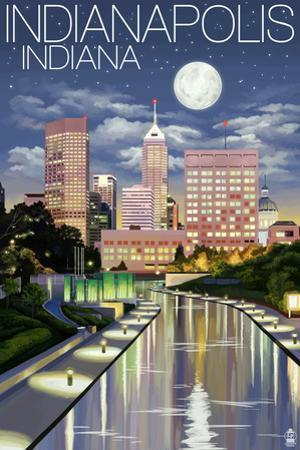 Indianapolis, Indiana - Indianapolis at Night by Lantern Press