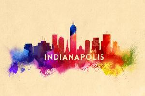 Indianapolis, Indiana - Skyline Abstract by Lantern Press