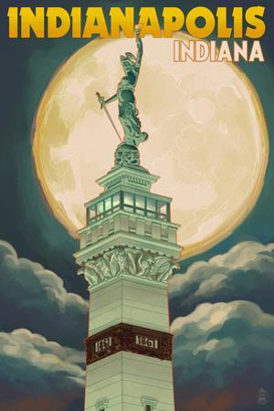 Indianapolis, Indiana - Soldiers' and Sailors' Monument and Moon by Lantern Press