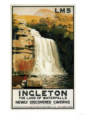 Ingleton, England - Spectators Climb on Waterfall Railway Poster by Lantern Press