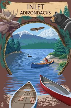 Inlet, New York - Adirondacks Canoe Scene by Lantern Press