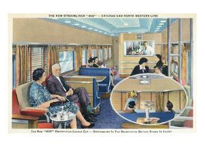 Interior View of Chicago and Northwestern Line Streamliner 400 Train by Lantern Press