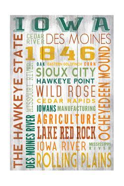 Iowa - Barnwood Typography by Lantern Press