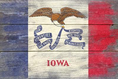 Iowa State Flag - Barnwood Painting by Lantern Press