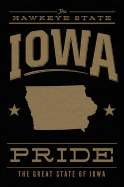 Iowa State Pride - Gold on Black by Lantern Press