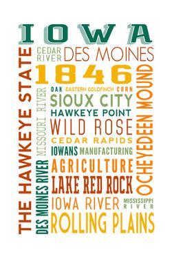 Iowa - Typography by Lantern Press