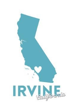 Irvine, California - State Outline and Heart by Lantern Press
