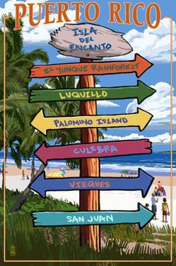 Isla del Encanto, Puerto Rico - Destination Signpost by Lantern Press
