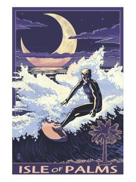 Isle of Palms, South Carolina - Surfer at Night by Lantern Press
