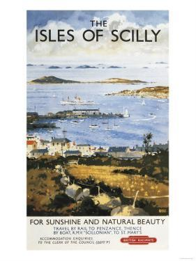 Isles of Scilly, England - Aerial Scene of Town and Dock Railway Poster by Lantern Press