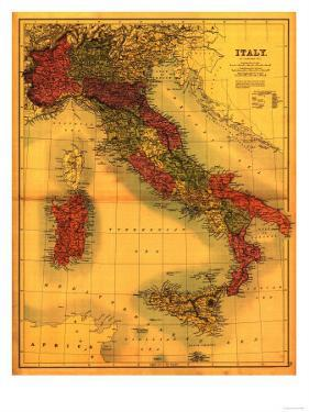 Italy - Panoramic Map by Lantern Press