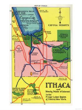 Ithaca, New York - Detailed Map Postcard of Ithaca and Nearby Points of Interest by Lantern Press