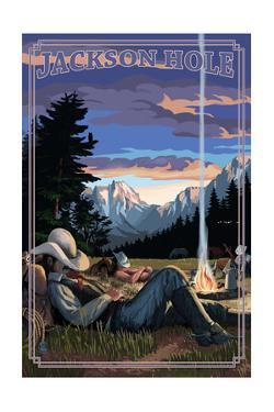 Jackson Hole, Wyoming - Cowboy Camping Night Scene by Lantern Press