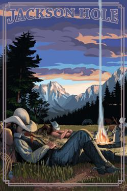 Jackson Hole, Wyoming - Cowboy Camping Night Scene by Lantern Press