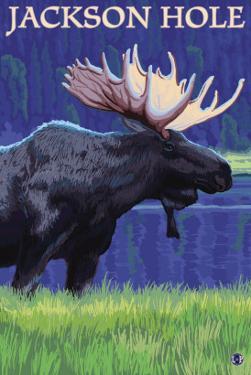 Jackson Hole, Wyoming - Moose at Night by Lantern Press