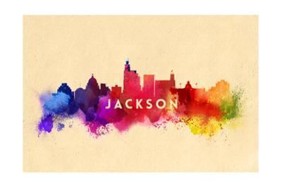 Jackson, Mississippi - Skyline Abstract by Lantern Press
