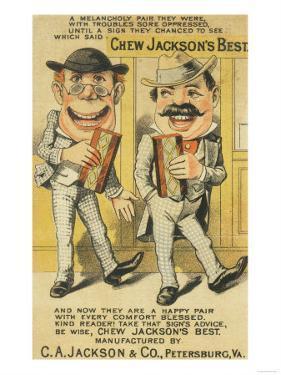 Jackson's Best Chew Advertisement, Happy Pair of Men - Petersburg, VA by Lantern Press