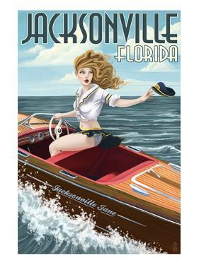 Jacksonville Beach, Florida - Boating Pinup Girl by Lantern Press
