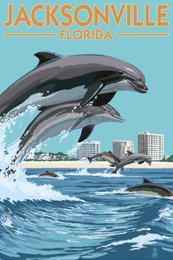 Jacksonville Beach, Florida - Jumping Dolphins by Lantern Press