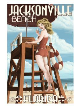 Jacksonville Beach, Florida - Lifeguard Pinup Girl by Lantern Press