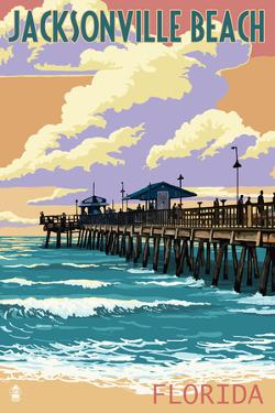 Jacksonville Beach, Florida - Pier and Sunset by Lantern Press