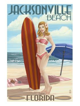 Jacksonville Beach, Florida - Surfer Pinup Girl by Lantern Press