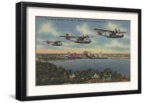 Jacksonville, FL - Navy Bombers over St. John's Rv. by Lantern Press
