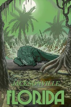 Jacksonville, Florida - Alligator in Swamp by Lantern Press