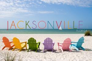 Jacksonville, Florida - Colorful Beach Chairs by Lantern Press
