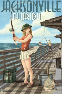 Jacksonville, Florida - Fishing Pinup Girl by Lantern Press