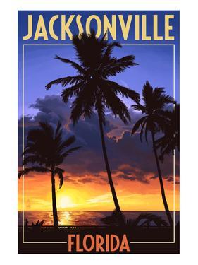 Jacksonville, Florida - Palms and Sunset by Lantern Press