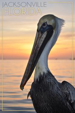 Jacksonville, Florida - Pelican and Sunset by Lantern Press