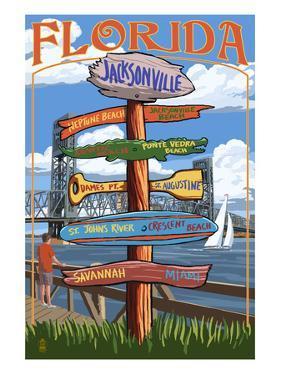 Jacksonville, Florida - Sign Destinations by Lantern Press