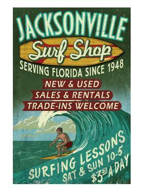 Jacksonville, Florida - Surf Shop by Lantern Press