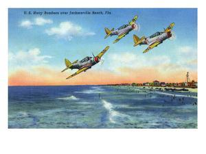 Jacksonville, Florida - US Navy Bombers over the Beach by Lantern Press