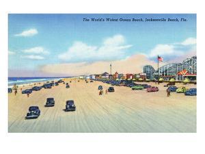 Jacksonville, Florida - View of World's Widest Ocean Beach by Lantern Press