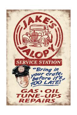 Jakes Jalopy Service Station - Vintage Sign by Lantern Press