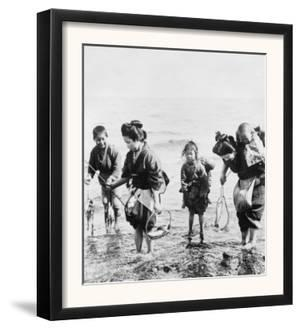 Japanese Mothers and Children Fishing Photograph - Japan by Lantern Press