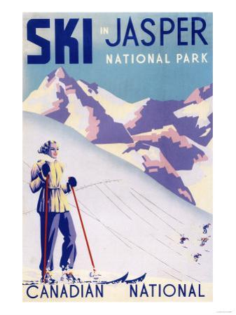 Jasper National Park, Canada - Woman Posing Open Slopes Poster by Lantern Press