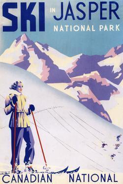 Jasper National Park, Canada - Woman Posing Open Slopes Poster by Lantern Press