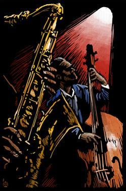 Jazz Band - Scratchboard by Lantern Press