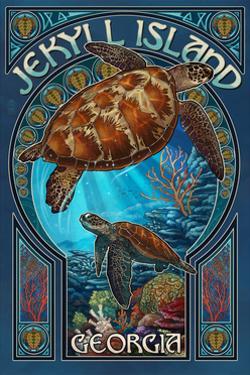 Jekyll Island, Georgia - Sea Turtle Art Nouveau by Lantern Press