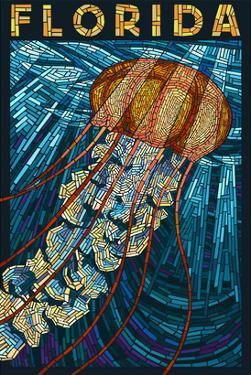 Jellyfish Paper Mosaic - Florida by Lantern Press