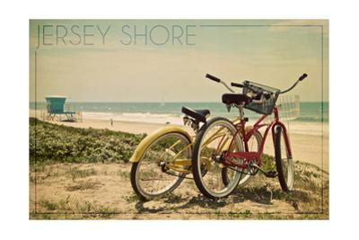 Jersey Shore - Bicycles and Beach Scene by Lantern Press