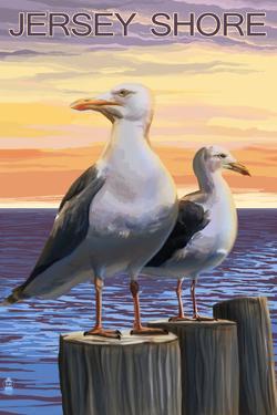 Jersey Shore - Seagulls by Lantern Press