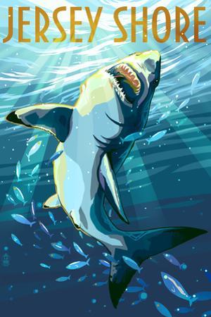 Jersey Shore - Stylized Shark by Lantern Press