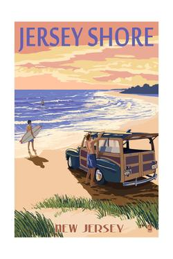 Jersey Shore - Woody on the Beach by Lantern Press