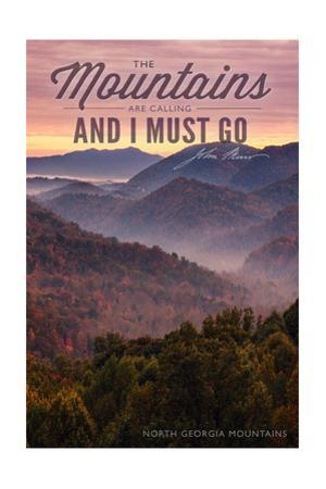 John Muir - the Mountains are Calling - North Georgia Mountains - Sunset by Lantern Press